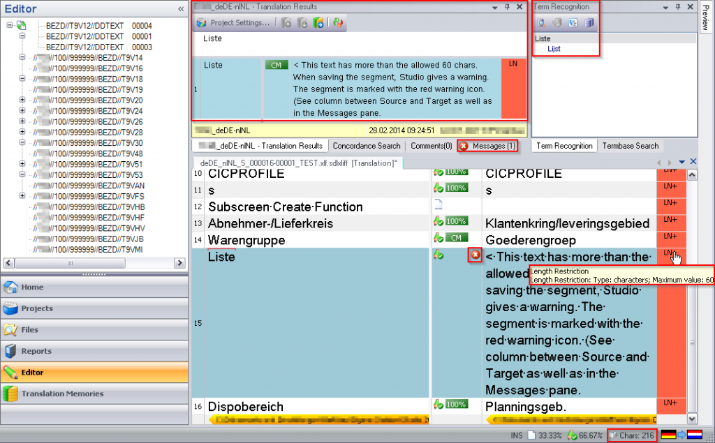 Trados Studio Editor with SAP XLIFF
