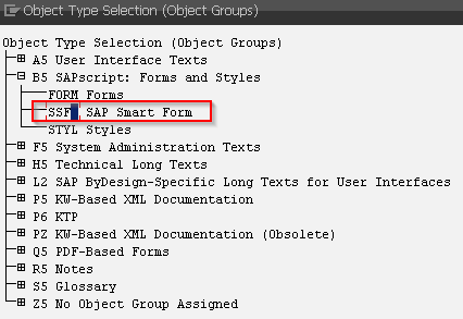 SAP SE63 - Translating SAP Smart Forms - Select SSF