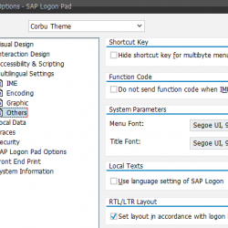 SAP GUI Options - SAP Logon Pad