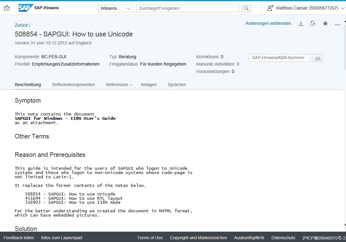 SAP Note 508854 - SAPGUI: How to use Unicode -